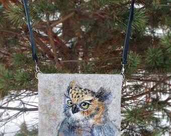 Owl.  Unique Hand Made Felted Wool Deer Shoulder Crossbody Messenger Bag Boho Hobo