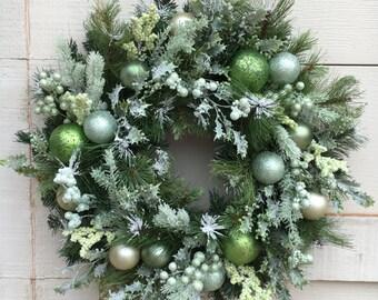 Christmas wreath,Flocked christmas wreath,Green Christmas wreath,holly wreath,Natural wreath,Green and white wreath,Christmas decor