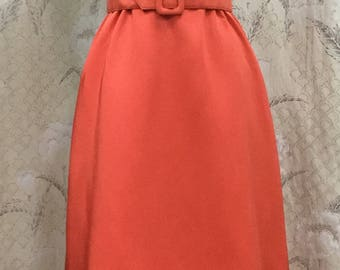 Vintage 1960s Orange Ruffled Halter Dress, Orange Maxi Dress, Size Small, Size 4