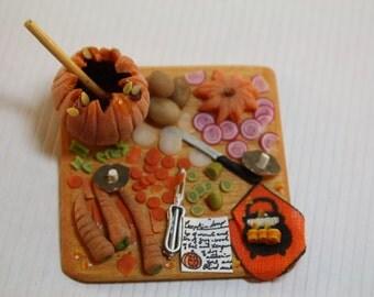 Dollhouse Miniature Handmade Kitchen Board with Pumpkin Soup In Progress (1/12 Scale)