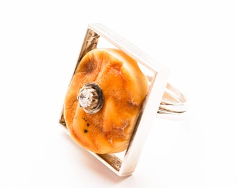 Handmade Baltic amber sterling silver ring