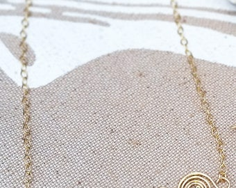 Tourmaline and 14K Gold Fill Wave Bar Necklace / Maine Made Jewelry / Swirl Spiral Layering Necklace / Gift for Her / Pink Green Gemstone