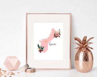 DIGITAL, Guam Art print, Guam Prints, Guam Printable, Guam, Download Print, Guam Wall Art, Guam Decor, Guam Art Poster, Guam Floral Print