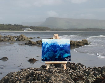 Blue Surge - Little Easel Wax Painting