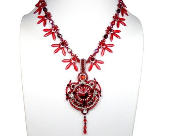 Necklace pendant embroidered, red silver, glamorous Baroque couture, Swarovski glass Bohemia Crystal, leather