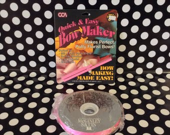 Beautiful Bows~Quick and Easy Bow Maker~Unopened~Includes 100 yards of Bright Pink Ribbon