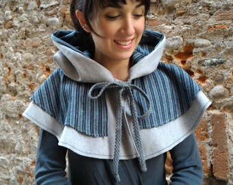 A wrap with hood/Cape blue and grey wool/Hood/Gift Idea winter/snowflake shrug/Wrap with hood for coat