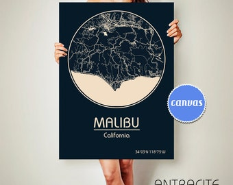 MALIBU California CANVAS Map Malibu California Poster City Map Malibu California Art Print Malibu California