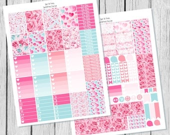Valentines Planner Sticker Printable / February Planner Stickers / Printable Planner Stickers / Weekly Planner Sticker Kit/ February Sticker