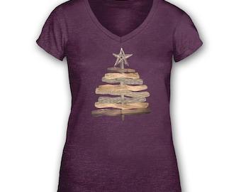Driftwood Tree womens vintage v-neck t-shirt