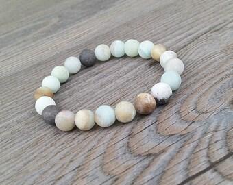 Energy mala bracelet precious stones amazonite multicolored mat 8mm