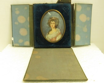 Antique Hand Painted Finely Detailed Oval Framed Woman.