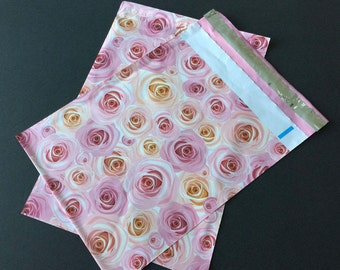 100 NEW 9x12 Designer Poly Mailers Roses Pink Peach Flowers Self Sealing Envelopes Shipping Bags