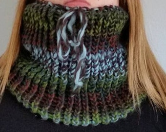 Scarf neck warmer (with or without tassel) - Emerald