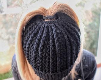 Bun Hat, Viral Messy Bun Hat, Ponytail Beanie, Mom Life Beanie, Crochet Bun Beanie, Crochet Bun Hat, Messy Hair Bun Hat, Christmas Gift