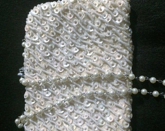 Vintage Bridal Purse, Pearl and Sequence Wedding Purse, Formal Clutch, Evening Bag