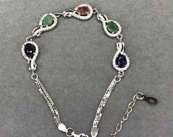 Sterling Silver Bracelet with Natural Sapphire, Natural Ruby and Natural Emerald, Appraised 554 USD