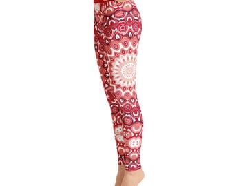 Red Yoga Pants - Printed Leggings for Women, High Waisted Yoga Pants