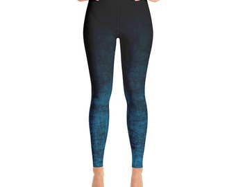 High Waisted Leggings - Black and Blue Ombre Leggings, Funky Grunge Yoga Pants