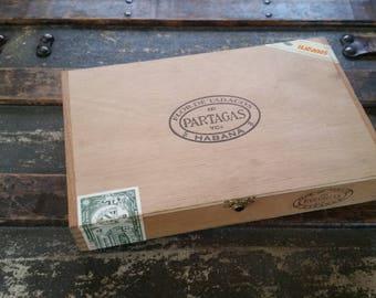 Cigar box vintage, wooden Partagas cigar box, handmade wood cigar box vintage