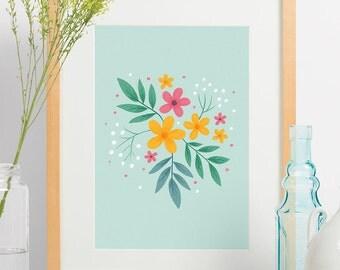"Spring Floral Art Print, Kids Decor, Nursery Decor, Home Decor,  Botanical Print, Minimalist, Flower Illustration, Archival Print, ""8.5x11"""