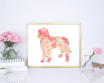 Golden-doodle print, Golden-doodle watercolor print, Golden-doodle floral dog print, 8x10, 16x20 nursery print, office, home, wall decor