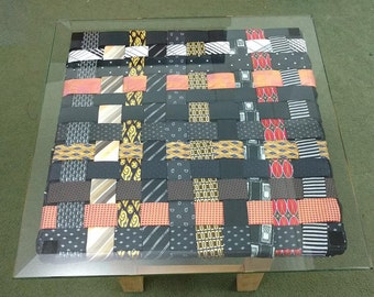 Small Up-cycled Wood, Fabric and Glass Coffee Table 50 x 50 cm