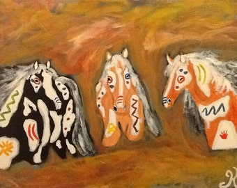 Wild Mustang Western Indian Paint Horses Painting