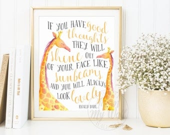 If You Have Good Thoughts, Roald Dahl Quote Print, Instant Download, The Twits, Nursery Wall Art Decor, Inspirational, sunbeams, printable