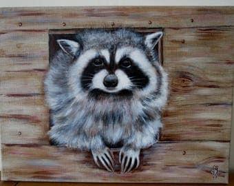 Raccoon - Original painting