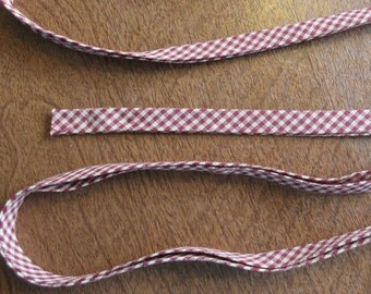 Handmade Cotton Double-Fold Bias Seam Binding - Vintage - Burgundy Check - 1 Yd.