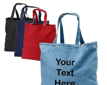 Cotton Denim Tote Bag, Tote bag with name, Bride tote bag, Customized tote bag, Personalized bag, Wedding welcome bags, party favor bag