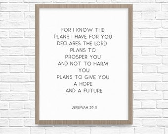 For I know the plans, Jeremiah 29:11, Printable Art, Bible Verse Print, Wall Art, Thirtyone Sparrows