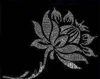 Rhinestone Iron on DIY Hot Fix Transfer Lotus Flower