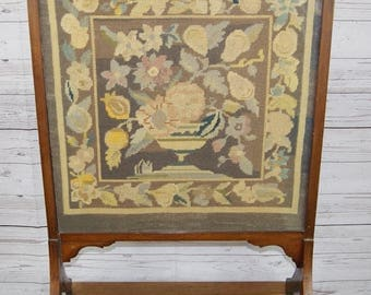 Vintage Art Deco Wooden Glazed Fire Screen with Embroidered Floral Tapestry