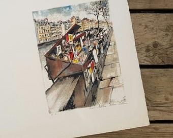 "Lithograph ""Bookstore of Paris"" Studio Bellini vintage"