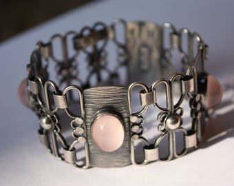 1950s signed A. REGELMANN stamped sterling bracelet with large rose quartz cabochons - maker's marks  German MODERNISM