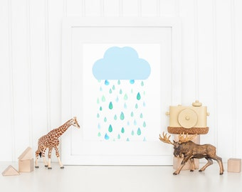 Raindrops Raining Cloud Nursery Printable Sign, Watercolor Baby Nursery Digital Wall Art Template, Instant Download, 8x10