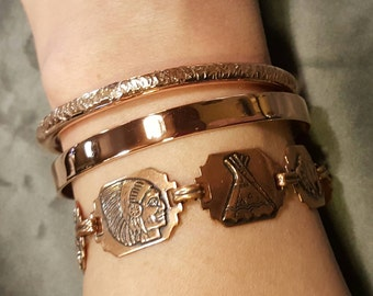 Hot Copper Cuffs Combo Vintage Set of 3