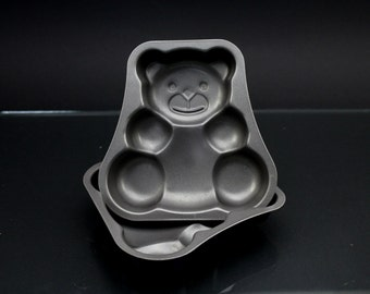Vintage metal baking molds 3 bear cake mold teflon coated 80s kitchenware decoration baking and serving Made in Germany
