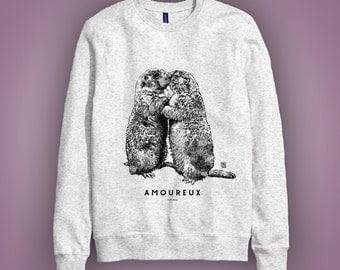 Sweatshirt gris: marmottes AMOUREUX (marmot, woodchuck, groundhog in love) animal totem 2017 Saint Valentin illustration