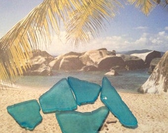SEA GLASS, Turquoise,, Gulf of Mexico, 10 pieces, DIY, Crafts,