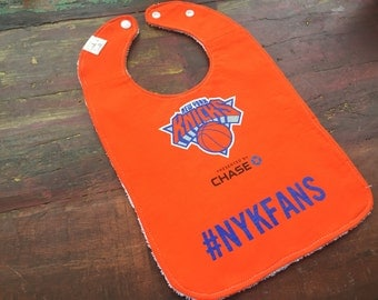 New York Knicks Upcycled Recycled T-Shirt Bib with Terry Cloth Back - Orange #NYKFANS - OOAK