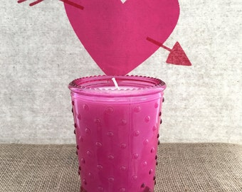Dark Pink Bubble Glass 14oz Soy Candle - Zen-Berry scent