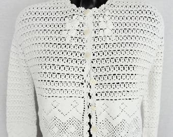 Cardigan - white cotton - knit - fully perforated - size 36 - Size S - vintage 90's
