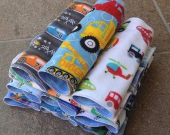 15 or more Reusable Cloth Wipes, Cars, Baby Boy,  Flannel, Washcloth Diaper Cloth Diapering Non-Paper Family Kids Lunch Napkins Family Cloth