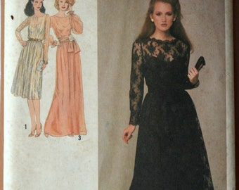 1970s Simplicity Vintage Sewing Pattern 9277, Size 10; Misses' Dress in Two Lengths and Sash
