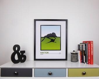 Haytor Print, Dartmoor Devon, Minimalist Travel Poster