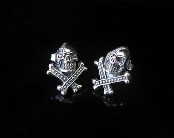 Skull skull bone earrings Sterling Silver 925 earrings cross bones