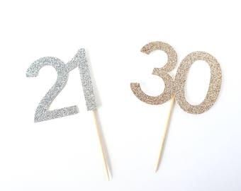 Custom Birthday Number Cupcake Topper - Set of 12